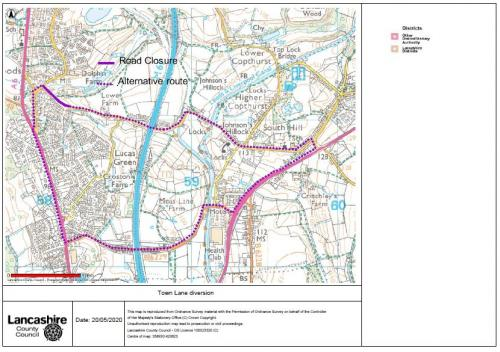 Town Lane Road Closure for Resurfacing - 23rd to 28th July 2020